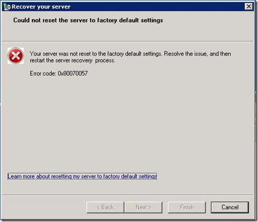 WHS2011 Recovery Process error Dialogue