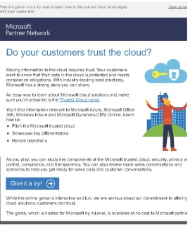 Microsoft Trust Game eMail image